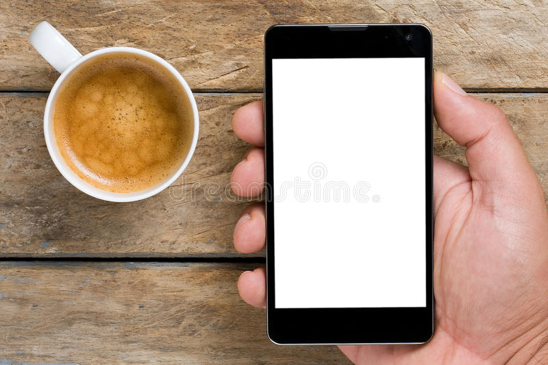 Smartphone Coffee Whitespace royalty free stock photography