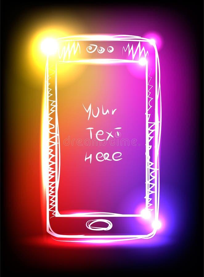 Smartphone coloré avec les lampes au néon sur le fond noir illustration libre de droits