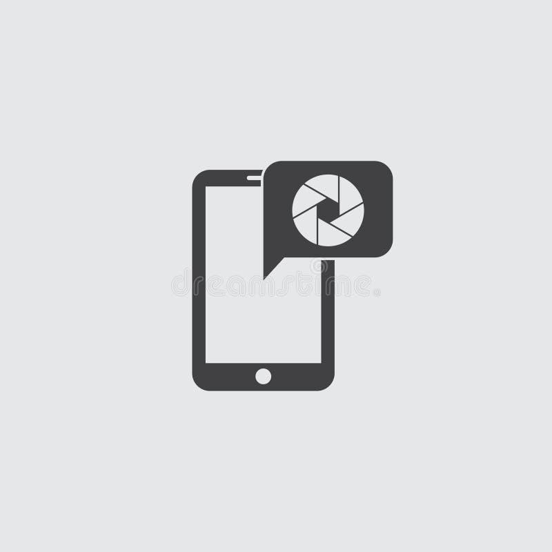 Smartphone com ícone da objetiva em um projeto liso na cor preta Ilustração EPS10 do vetor ilustração royalty free
