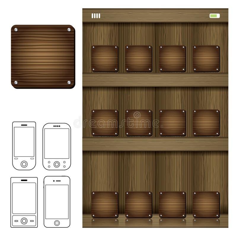 Smartphone com ícone de madeira app ilustração stock