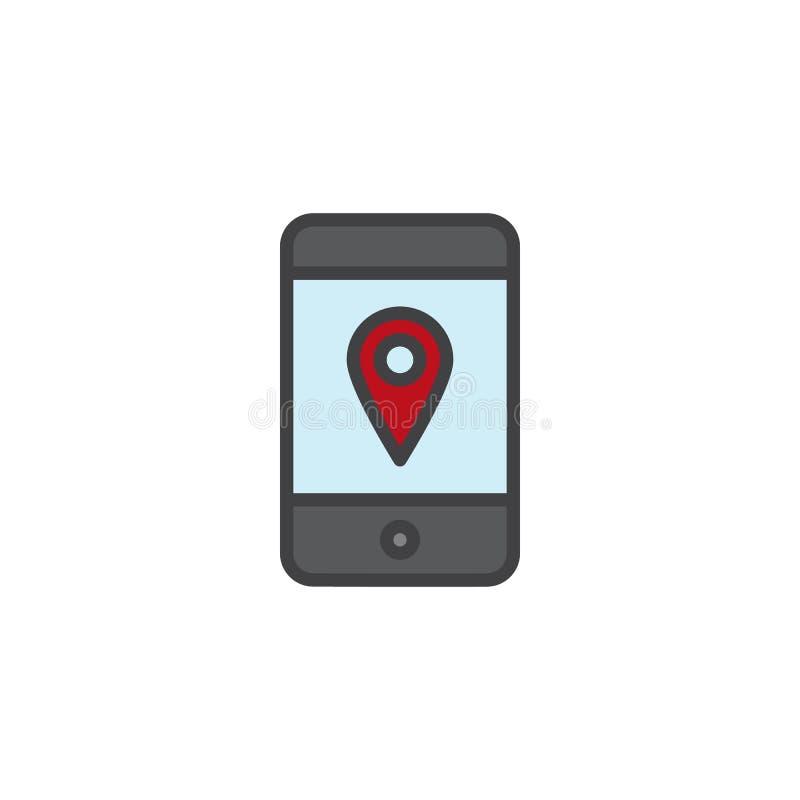 Smartphone com ícone enchido pino do esboço do lugar ilustração royalty free