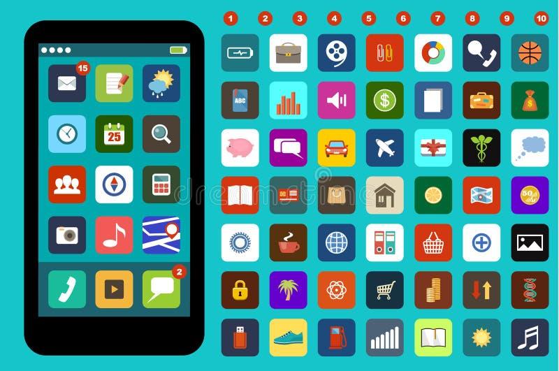 Smartphone com ícones coloridos da aplicação ilustração stock