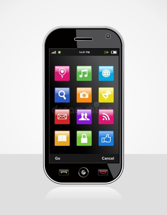 Smartphone com ícones da aplicação ilustração do vetor
