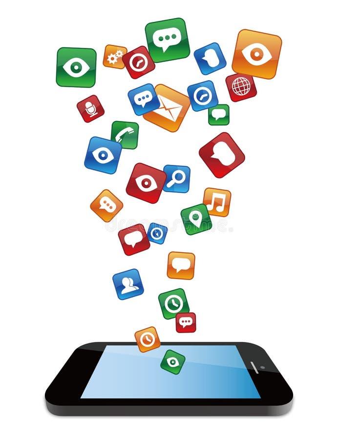 Smartphone com ícones 2 da aplicação ilustração stock
