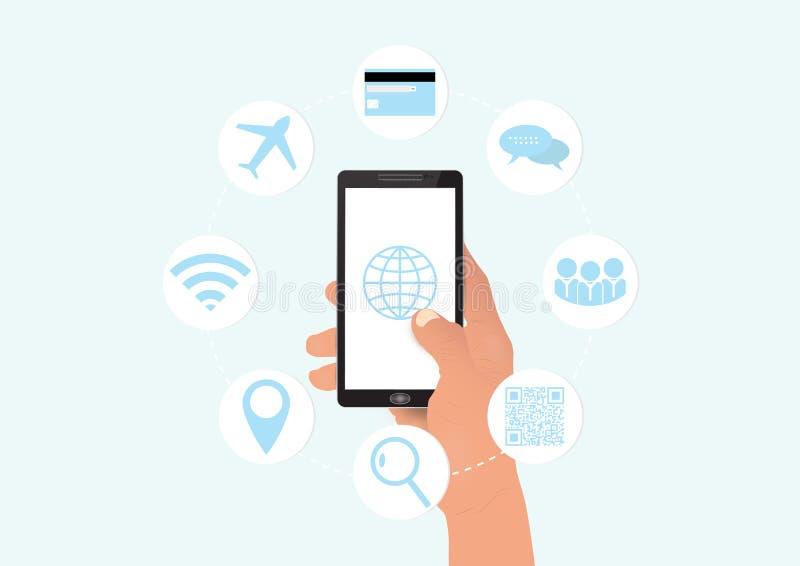 Smartphone com ícones sociais de uma comunicação dos meios, conceito da terra arrendada da mão da tecnologia do negócio ilustração do vetor