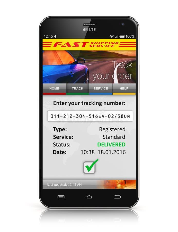 Smartphone com aplicação de seguimento da ordem do pacote ilustração stock