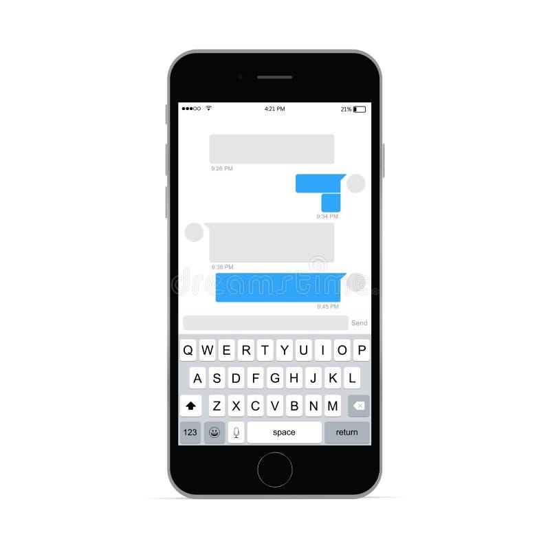 Smartphone com bate-papo app ilustração royalty free