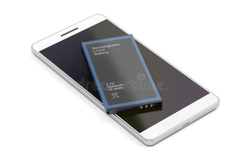 Smartphone com a bateria de reposição do Lítio-íon ilustração do vetor
