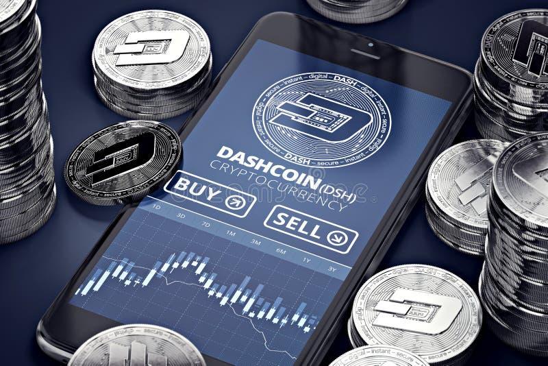 Smartphone com a carta de troca de Dashcoin no tela entre pilhas de Dashcoins de prata ilustração stock