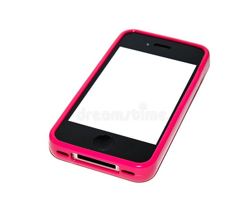 Smartphone com caso cor-de-rosa imagens de stock royalty free