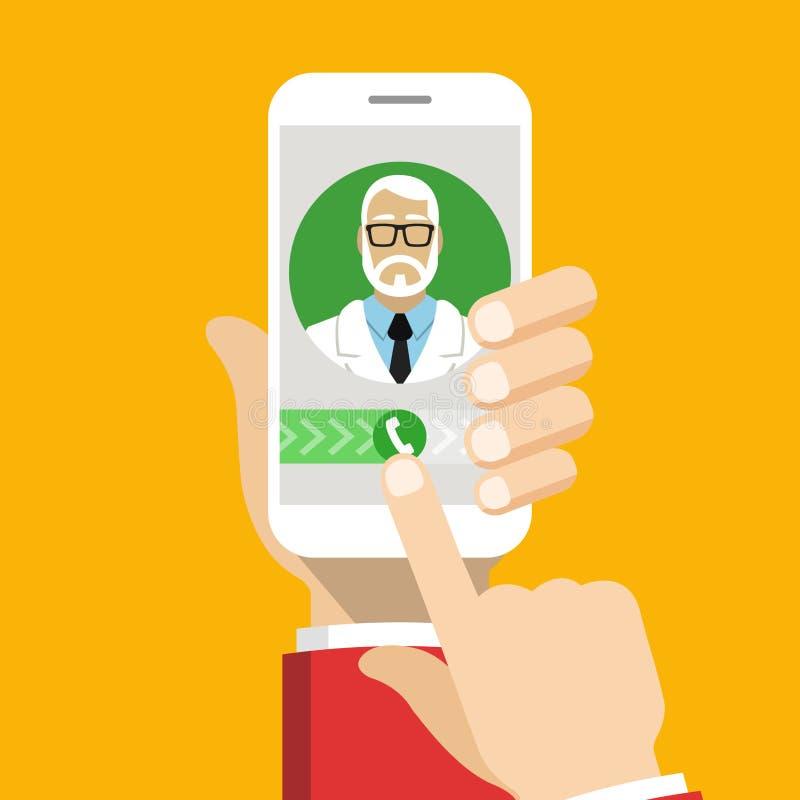 Smartphone com doutor masculino na chamada e em uma consulta em linha imagens de stock
