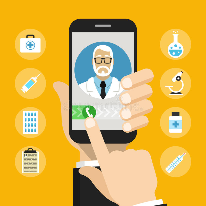 Smartphone com doutor masculino na chamada e em uma consulta em linha imagem de stock royalty free