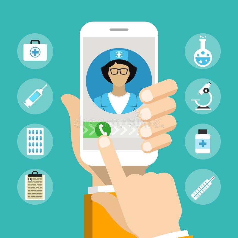 Smartphone com doutor masculino na chamada e em uma consulta em linha imagem de stock