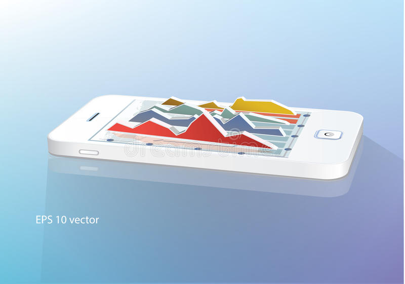 Smartphone com gráfico de negócio ilustração stock