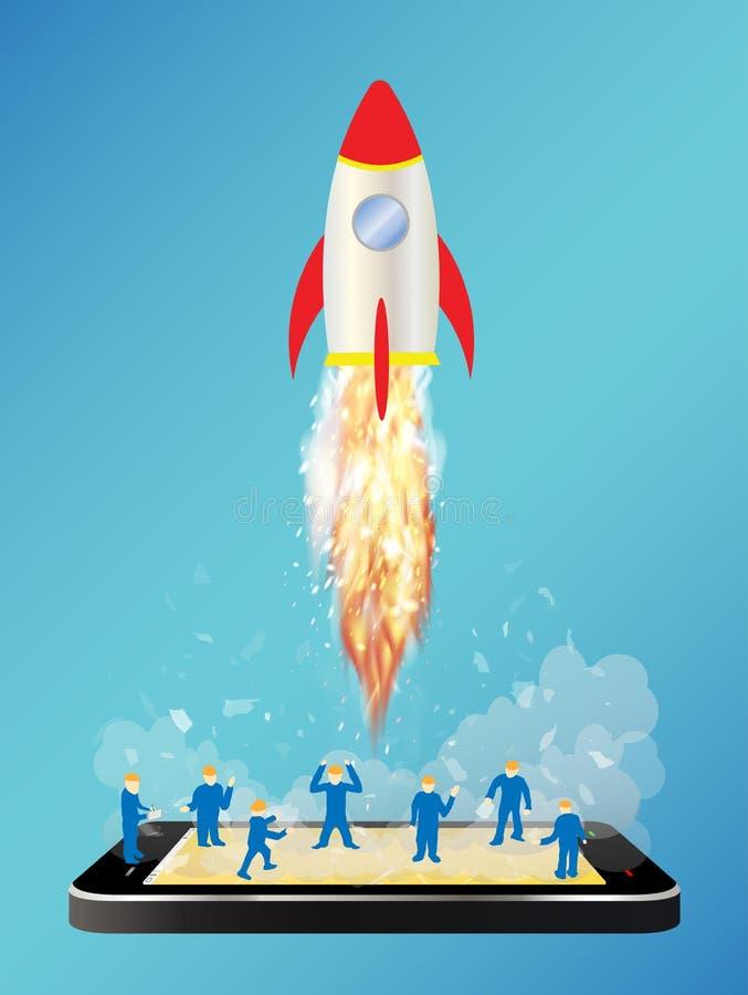 Smartphone com lançamento de foguete do espaço do brinquedo e o mini trabalhador ilustração stock