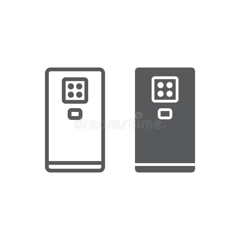 Smartphone com linha de quatro câmeras e ícone do glyph, dispositivo e comunicação, sinal do telefone, gráficos de vetor, um test ilustração stock