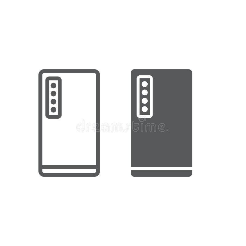 Smartphone com linha de quatro câmeras e ícone do glyph, tecnologia e comunicação, sinal do telefone celular, gráficos de vetor,  ilustração do vetor