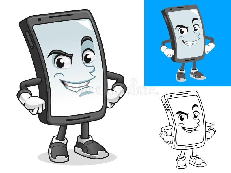 Smartphone com Mãos na Ilustração de Mascote de Cartoon Hips ilustração stock