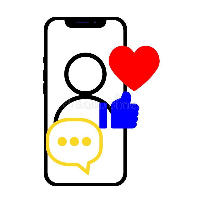 Smartphone com meios sociais relacionou ícones sobre a tela Ilustração lisa para o site, app do vetor, bandeira ilustração do vetor