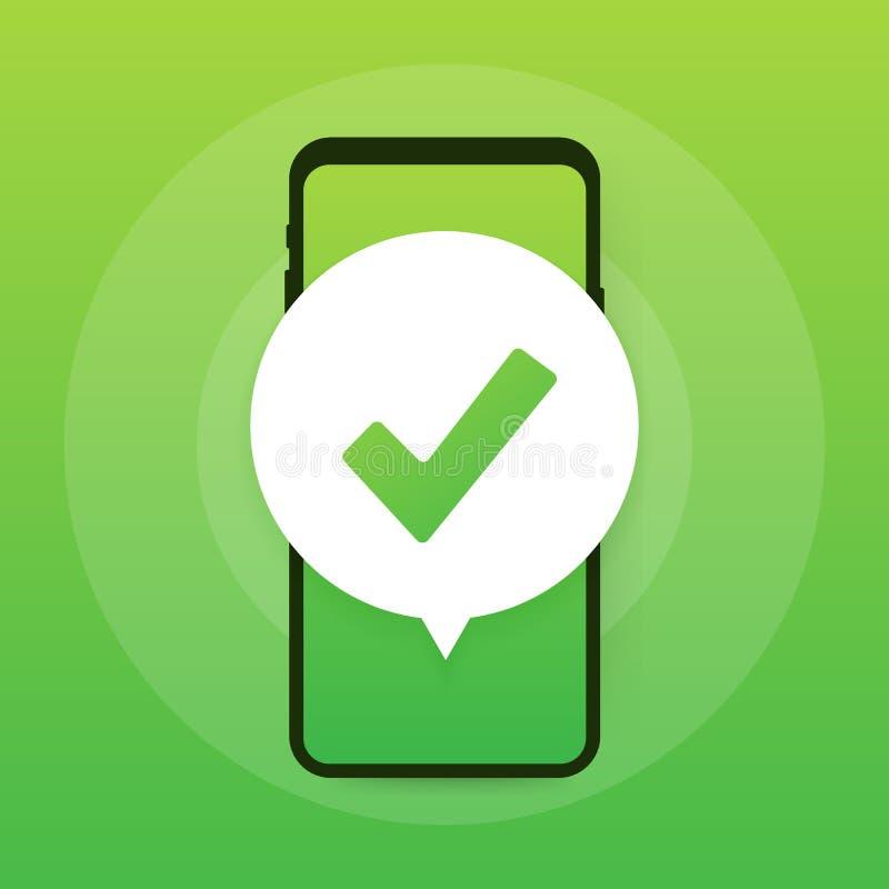 Smartphone com notificação do sinal ou do tiquetaque na bolha Escolha aprovada Aceite ou aprove o sinal Ilustração do vetor ilustração stock