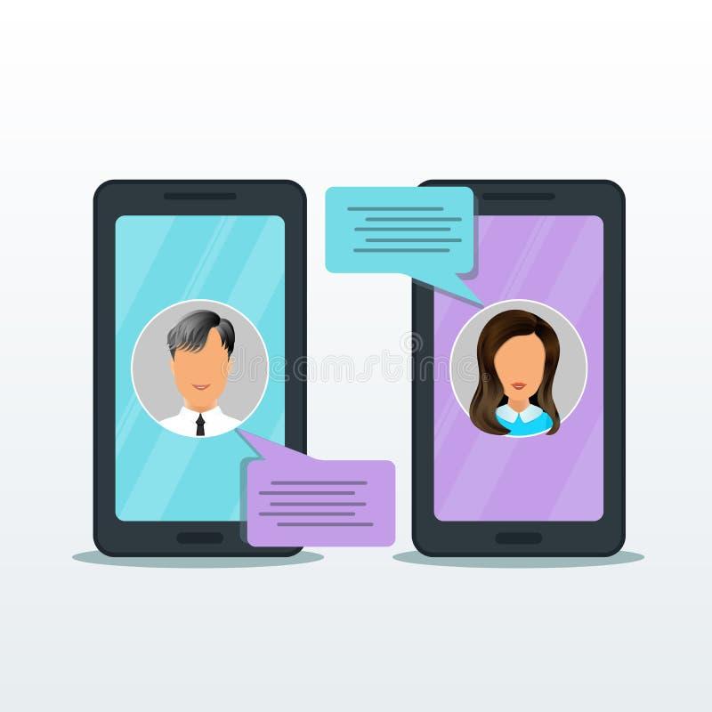 Smartphone com a notificação em linha das mensagens do bate-papo isolada no fundo branco, projeto liso do telefone celular, bolha ilustração royalty free