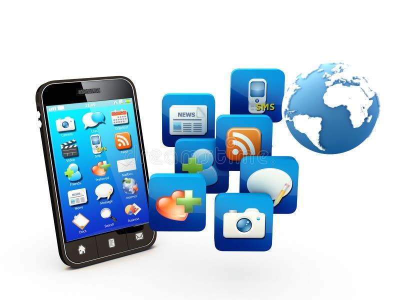 Smartphone com a nuvem de ícones da aplicação ilustração stock