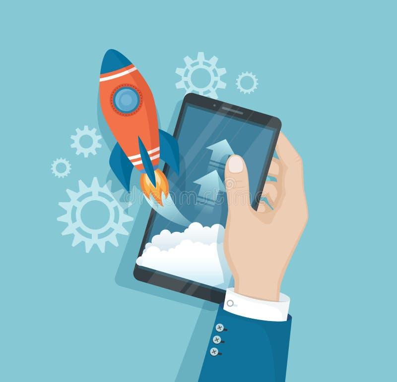 Smartphone com partida do foguete do lançamento da tela Telefone com aplicação móvel na mão Ideia do planeamento empresarial dos  ilustração do vetor