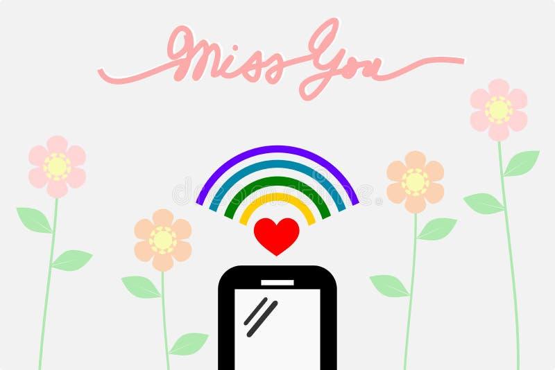 Smartphone com sinal do wifi Há um ` da senhorita You do ` da palavra da escrita no projeto liso, fundo pastel da flor ilustração stock