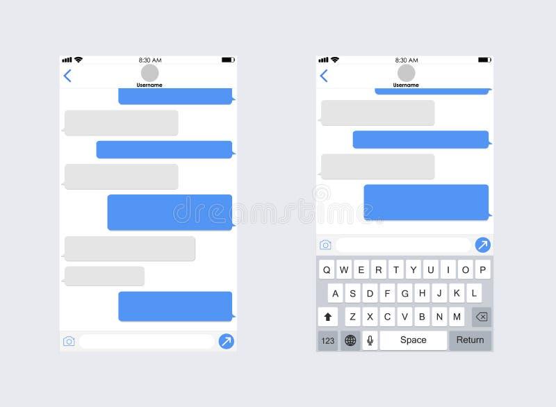 Smartphone com sms app da mensagem Teclado do móbil do whith do molde do app do bate-papo Conceito social da rede Ilustração do v ilustração do vetor