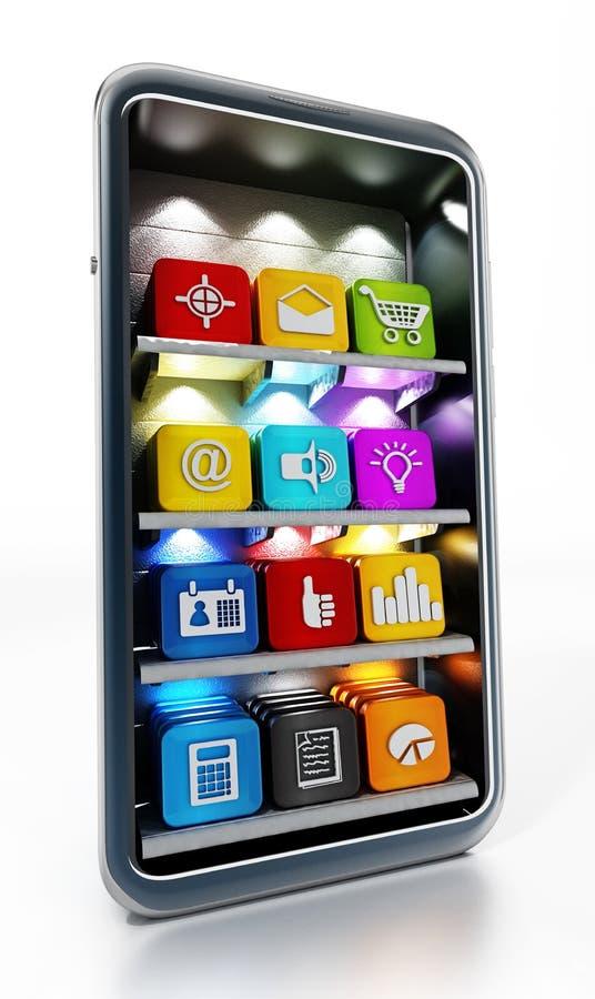 Smartphone com software de aplicação nas prateleiras ilustra??o 3D ilustração do vetor