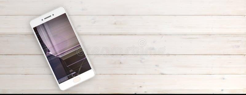 Smartphone com a tela quebrada isolada no fundo de madeira, espaço da cópia, bandeira ilustração 3D ilustração stock