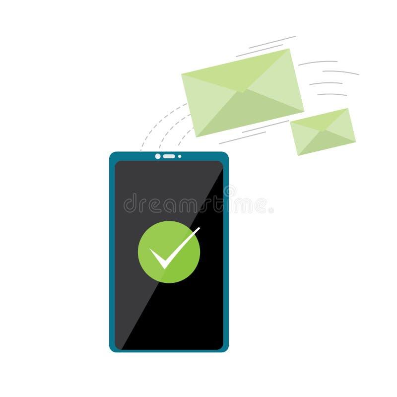 Smartphone com um ícone dos envelopes ilustração stock