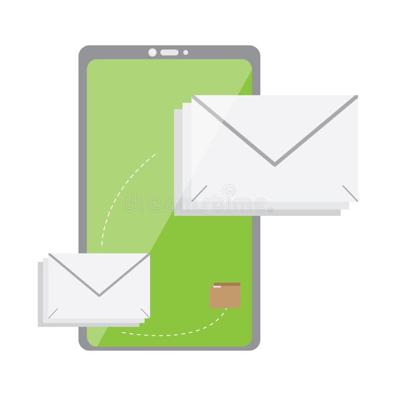 Smartphone com um ?cone dos envelopes ilustração stock