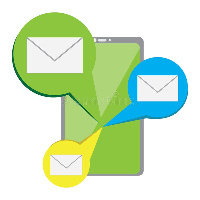 Smartphone com um ?cone dos envelopes ilustração do vetor