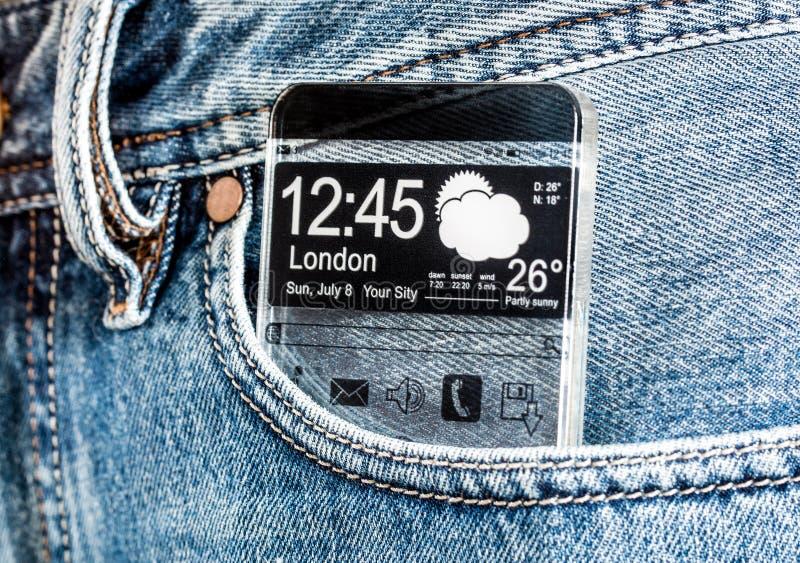 Smartphone com uma tela transparente em um bolso das calças de brim. imagens de stock royalty free