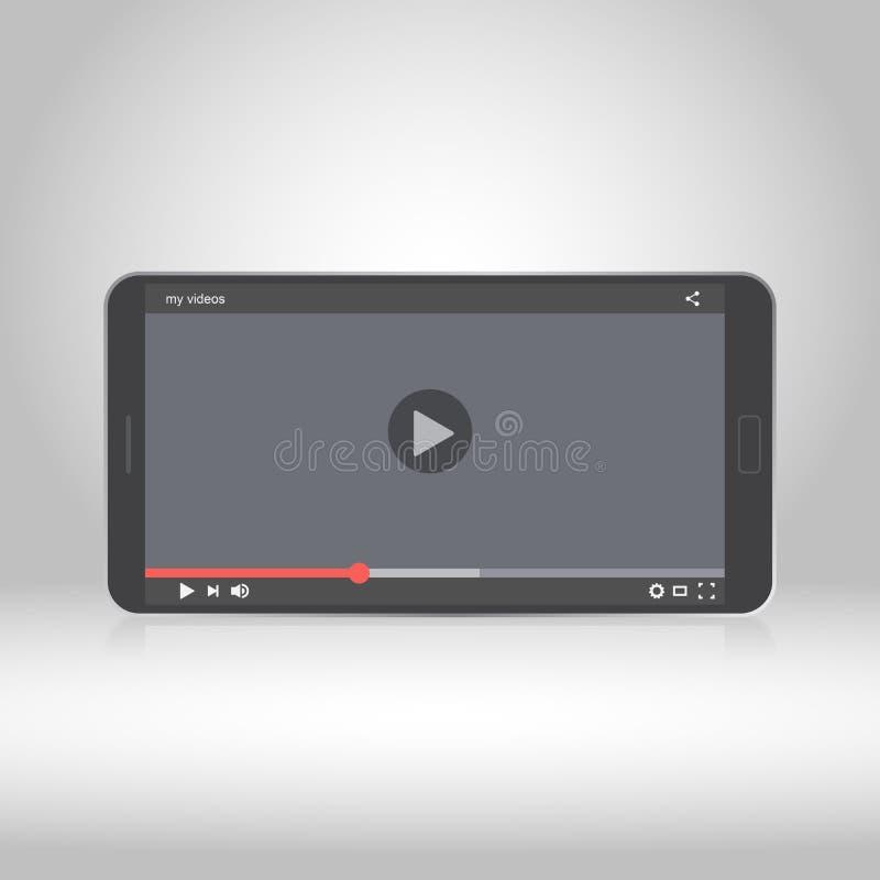 Smartphone com a vídeo na tela ilustração royalty free