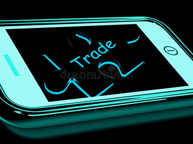 Smartphone comercial significa negocio de Internet stock de ilustración