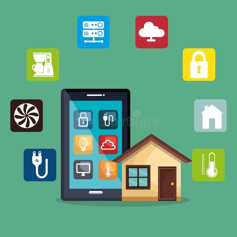 Smartphone commandant la maison futée illustration stock