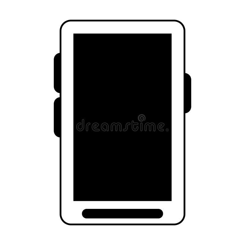 Smartphone communicaiton mobilna technologia odizolowywająca w czarny i biały ilustracji