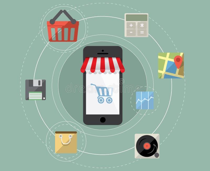 Smartphone como tienda en línea stock de ilustración