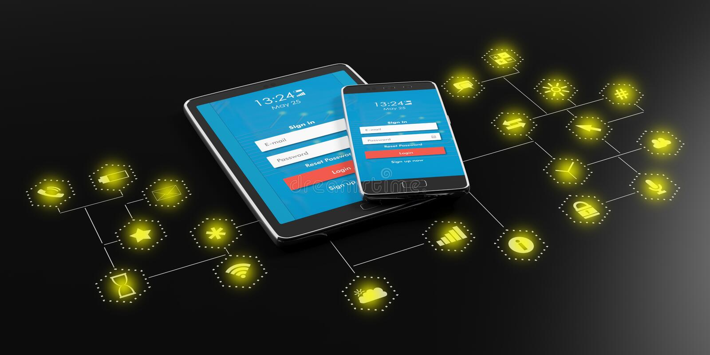 Smartphone, comprimé avec l'écran d'ouverture sur le fond noir avec des icônes d'appli illustration 3D illustration libre de droits