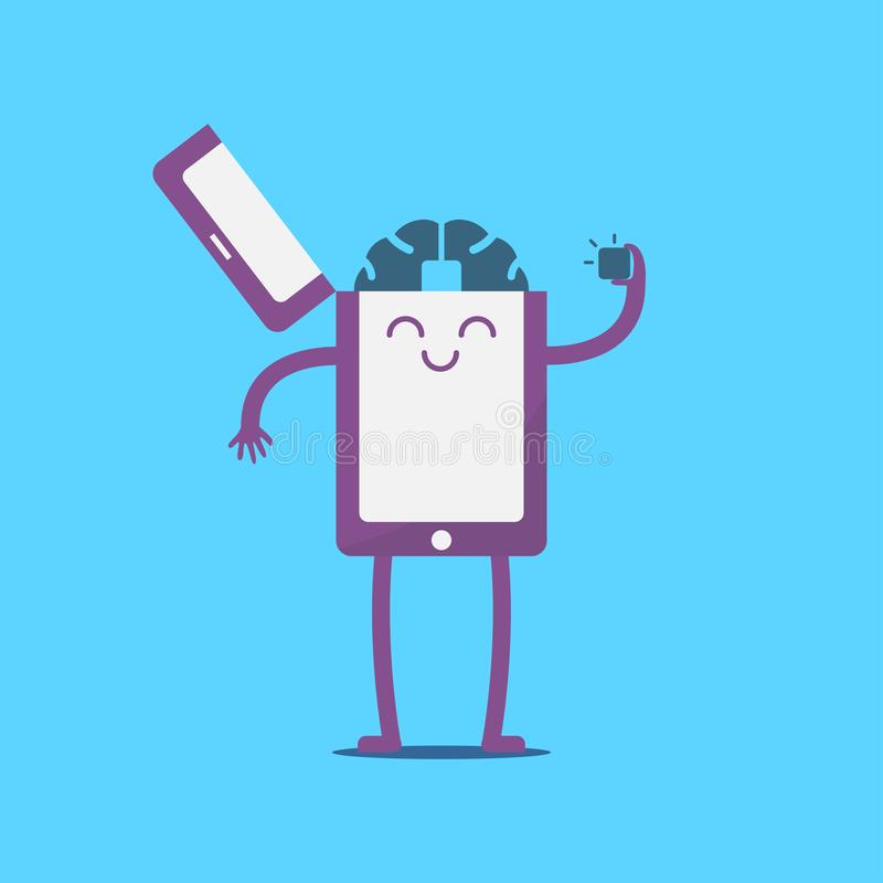 Smartphone with computer brain vector. Cartoon, microship technology, character design royalty free illustration