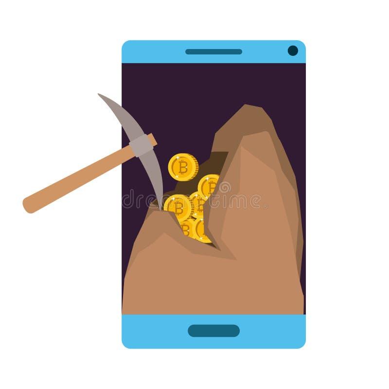 Smartphone con comercio minero del bitcoin de la selecci?n ilustración del vector