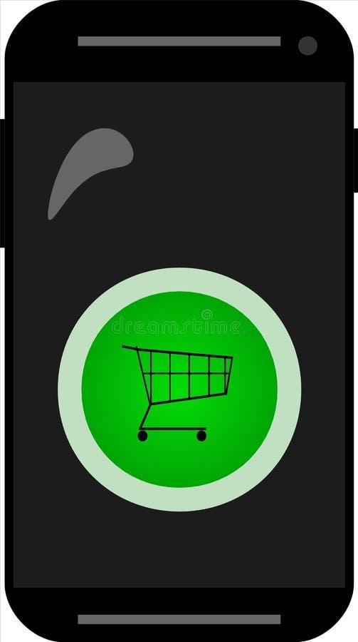 Smartphone con el botón de la compra para Internet de cosas foto de archivo