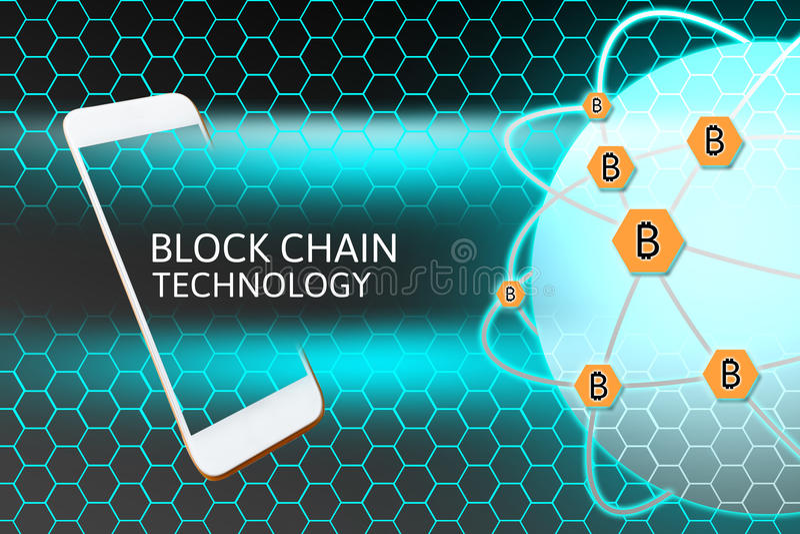 Smartphone con el concepto de Blockchain Protección y panal del establecimiento de una red de Bitcoin ilustración del vector