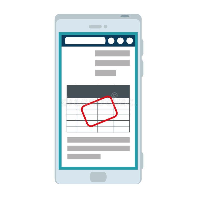 Smartphone con el documento del impuesto ilustración del vector