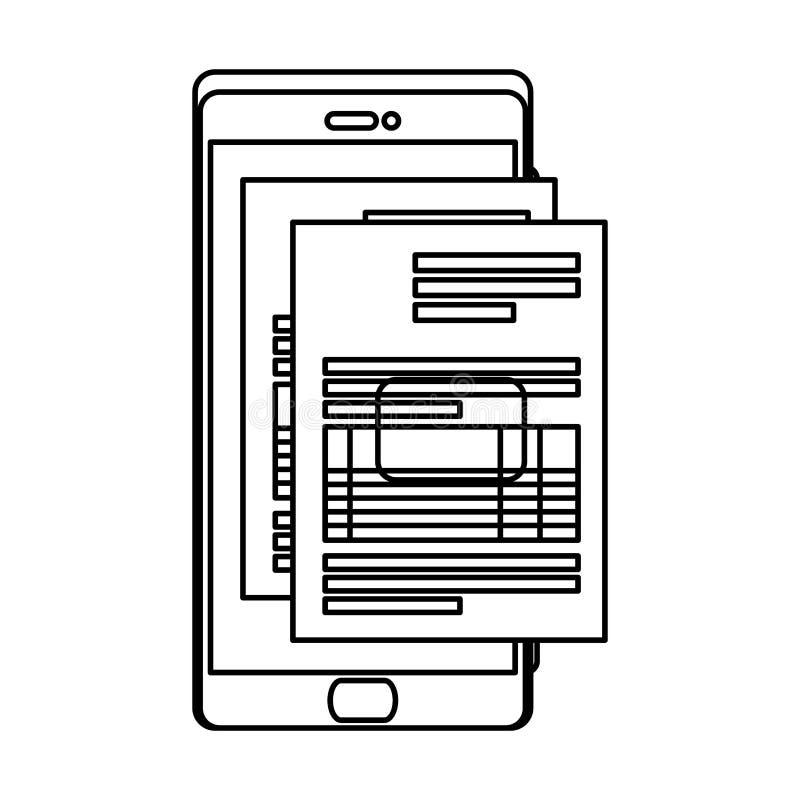 Smartphone con el documento del impuesto stock de ilustración