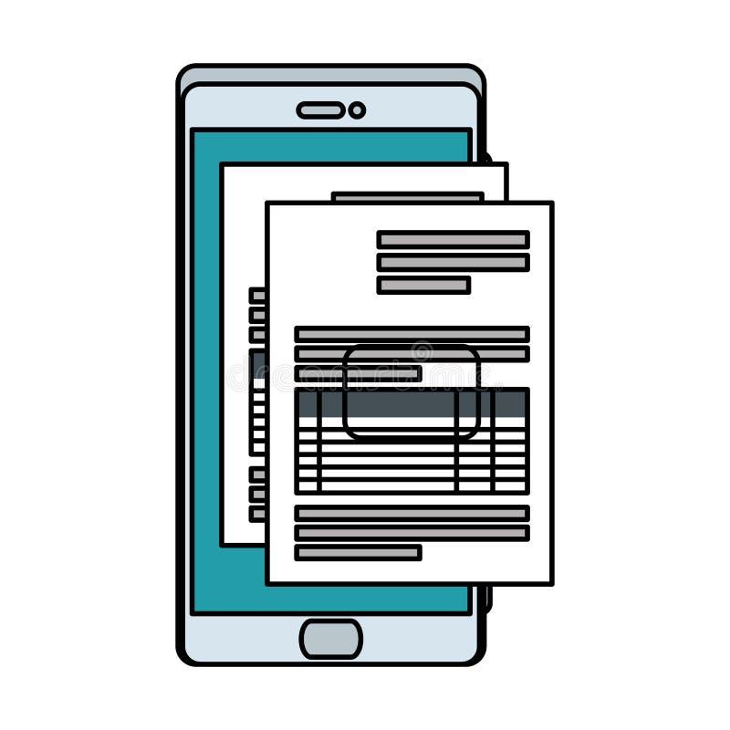 Smartphone con el documento del impuesto libre illustration