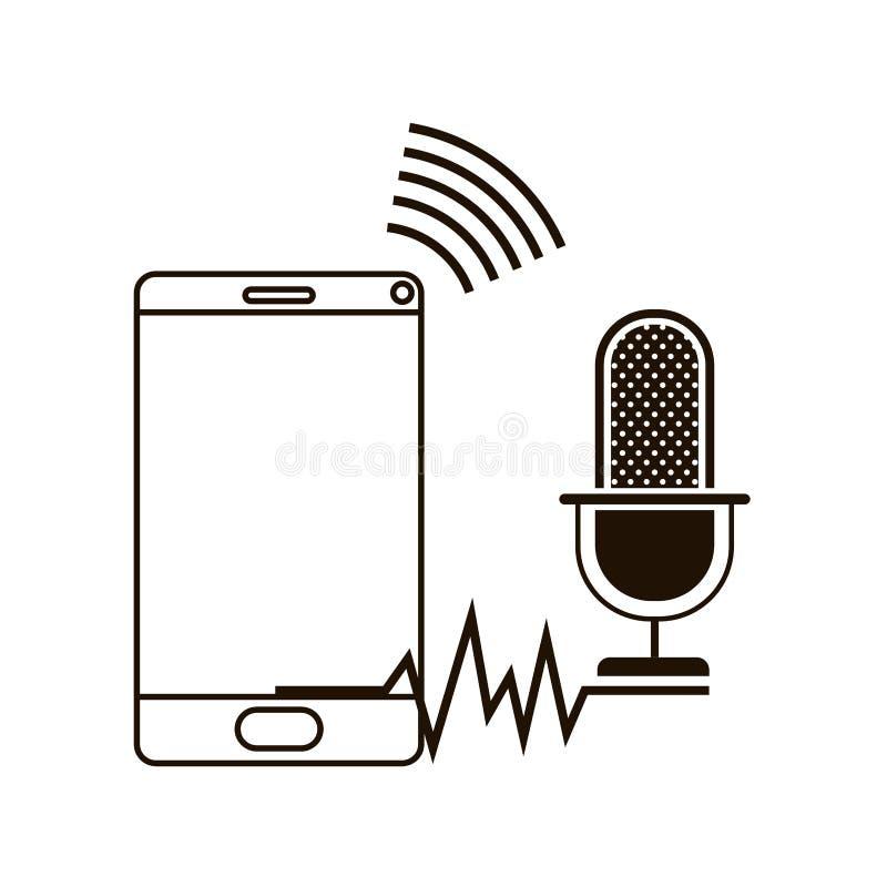 Smartphone con el icono auxiliar de la voz libre illustration