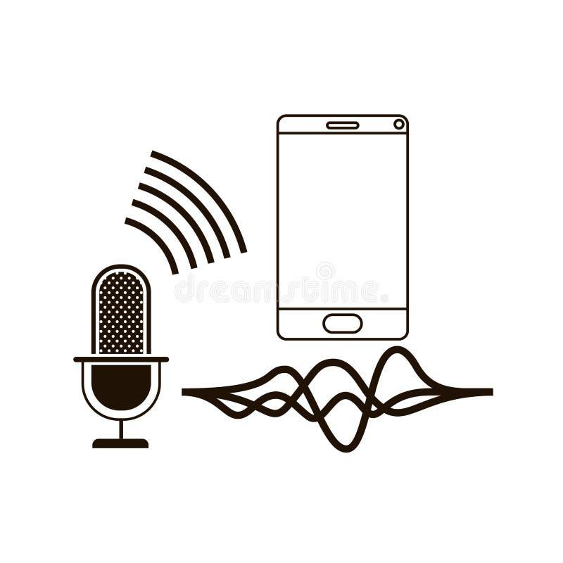 Smartphone con el icono auxiliar de la voz stock de ilustración